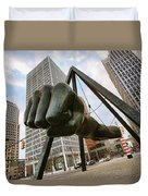 In Your Face -  Joe Louis Fist Statue - Detroit Michigan Duvet Cover by Gordon Dean II