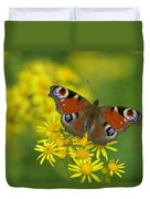 Inachis Io Butterfly On The Yellow Flowers Duvet Cover