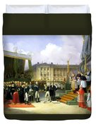 Inauguration Of A Monument In Memory Of Louis Xvi 1754-93 By Charles X 1757-1836 At The Place De La Duvet Cover