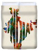 India Typographic Watercolor Map Duvet Cover by Inspirowl Design