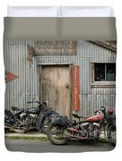 Indian Chout And Chief Bobber At The Old Okains Bay Garage Duvet Cover