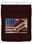 Indian Corn On American Flag Duvet Cover by Garry Gay