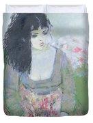 Indian Earring Dark-haired Girl In Green Oil On Canvas Duvet Cover