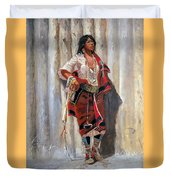 Indian Maid At Stockade By Charles Marion Russell Duvet Cover