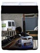 Indian Man Enjoying In A Bumper Cars Ride In An Entertainment Park Duvet Cover