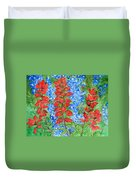 Indian Paintbrush And Bluebonnets Duvet Cover