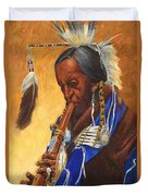 Indian Playing Flute Duvet Cover