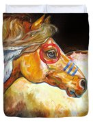 Indian War Horse Golden Sun Duvet Cover