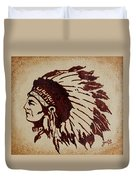 Indian Wise Chief Coffee Painting Duvet Cover