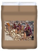Indian Women Selling Pottery Duvet Cover