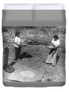 Indian Women Winnowing Wheat Duvet Cover