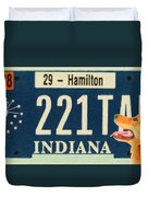 Indiana License Plate Duvet Cover