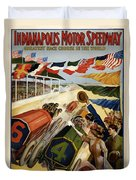 Indianapolis Motor Speedway - Vintage Lithograph Duvet Cover