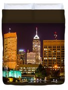 Indianapolis Skyline At Night Picture Duvet Cover by Paul Velgos