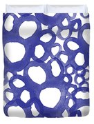 Indigo Bubbles- Contemporary Absrtract Watercolor Duvet Cover by Linda Woods