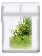 Indigo Bunting And Scarlet Tanager Duvet Cover