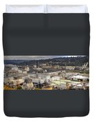 Industrial Area Along River Panorama Duvet Cover