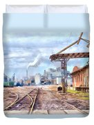 Industrial Railroad Scene  Duvet Cover