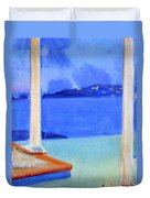 Infinity Pool At Twilight Duvet Cover