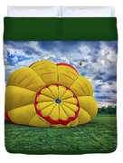 Inflating The Hot Air Balloon Duvet Cover