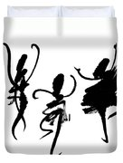 Ink Painting With Abstract Dancers  Duvet Cover