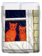 Orange Cats Looking Out Window Duvet Cover