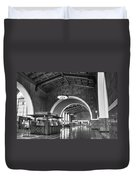 Inside Los Angeles Union Station In Black And White Duvet Cover
