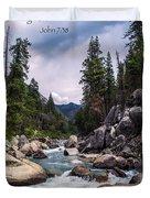 Inspirational Bible Scripture Emerald Flowing River Fine Art Original Photography Duvet Cover
