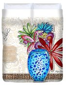 Inspirational Floral Dragonfly Painting Flower Vase With Quote By Megan Duncanson Duvet Cover