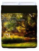 Inspirational - Prosperity - Job 36-11 Duvet Cover