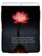 Inspirational - Reflection - Confucius Duvet Cover by Mike Savad