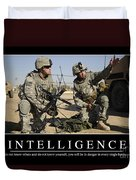 Intelligence Inspirational Quote Duvet Cover