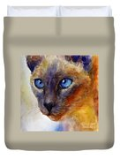 Intense Siamese Cat Painting Print 2 Duvet Cover by Svetlana Novikova