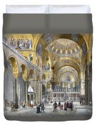 Interior Of San Marco Basilica, Looking Duvet Cover by Italian School