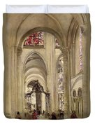 Interior Of The Cathedral Of St. Etienne, Sens Duvet Cover