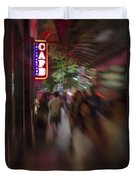 International Cafe Neon Sign And Street Scene At Night Santa Monica Ca Portrait Duvet Cover