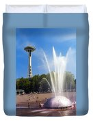 International Fountain And Space Needle Duvet Cover