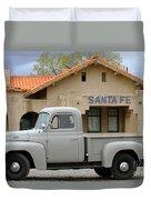 International Harvester L-110 Truck At Santa Fe Train Depot Duvet Cover