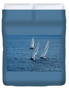 Into The Wind - Crisp White Sails On Blue Duvet Cover