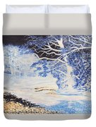 Inverted Lights At Trawscoed Aberystwyth Welsh Landscape Abstract Art Duvet Cover