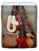 Ipu Heke And Red Ukulele With White Satin Lei Duvet Cover