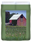 Iris Field And Barn Duvet Cover