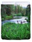 Iris Flowers By The Metolius River Duvet Cover