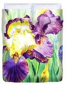 Iris Flowers Garden Duvet Cover
