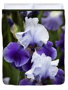 Iris Purple And White Fine Art Floral Photography Print As A Gift Duvet Cover