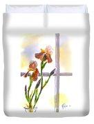 Irises In The Window Duvet Cover