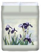 Irises Purple Flowers Painting Floral K. Joann Russell                                           Duvet Cover