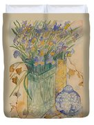 Irises With Chinese Pot Duvet Cover