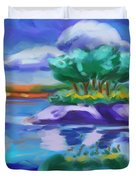 Island On The Lake Duvet Cover