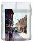 Italian Bus Stop Duvet Cover